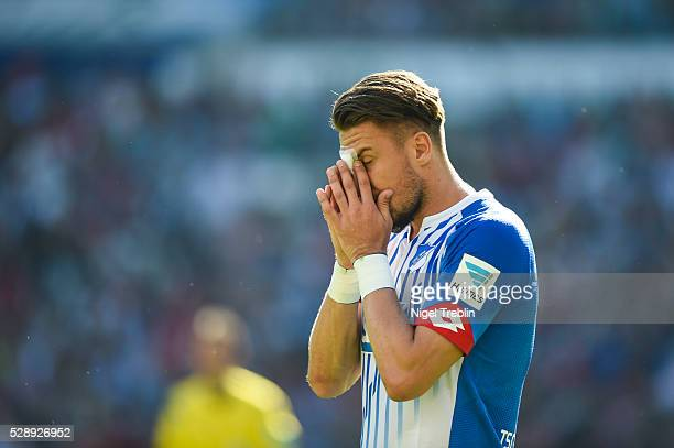 Pirmin Schwegler of Hoffenheim reacts during the Bundesliga match between Hannover 96 and 1899 Hoffenheim at HDIArena on May 7 2016 in Hanover Germany