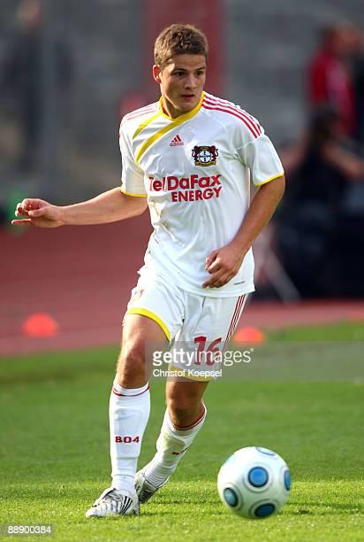 Pirmin Schwegler of Leverkusen runs with the ball during the Zayton Cup match between Bayer Leverkusen and Al Ahly at the Lorheide stadium on July 8...