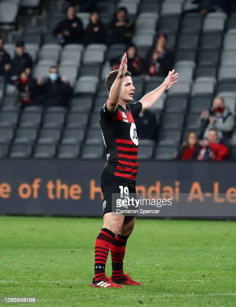 Pirmin Schwegler of the Wanderers celebrates after scoring a goal during the round 27 A-League match between the Western Sydney Wanderers and the...