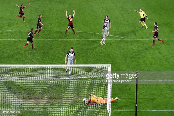 Pirmin Schwegler of the Wanderers celebrates scoring a goal during the round 27 A-League match between the Western Sydney Wanderers and the Melbourne...