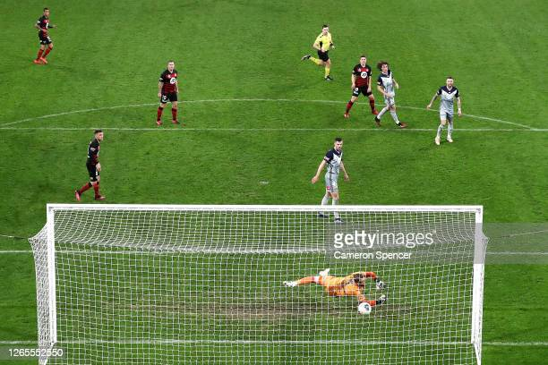 Pirmin Schwegler of the Wanderers shoots on goal to score during the round 27 A-League match between the Western Sydney Wanderers and the Melbourne...