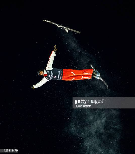 Pirmin Werner of Switzerland loses a ski in midair during a training jump before the start of the Men's Aerials Final during the FIS Freestyle Skiing...