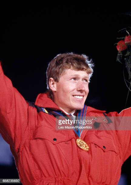 Pirmin Zurbriggen of Austria with his gold medal after winning the men's downhill event during the Winter Olympic Games in Calgary Canada on 15th...