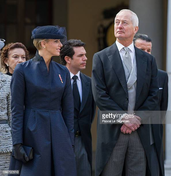 Pirncess Charlene of Monaco and Prince of Liechtenstein Hans Adam II attend the Monaco National Day Celebrations in the Monaco Palace Courtyard on...