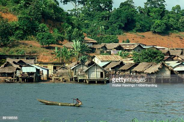 Pirogue, Adjoukron fishing village on lagoon, Tiegba, Ivory Coast, Africa