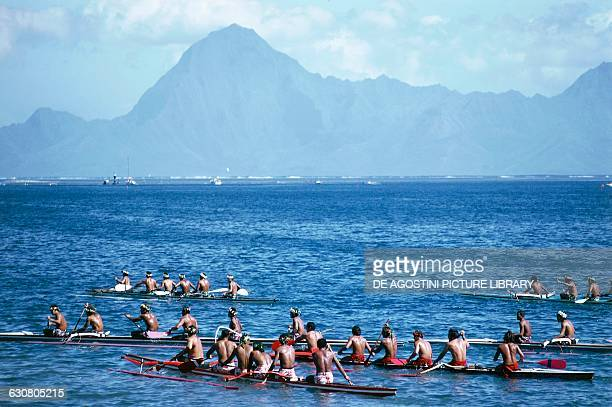 Pirogue boat races during the Tiurai festival Tahiti Society islands archipelago of the Windward islands French Polynesia French Overseas Territory
