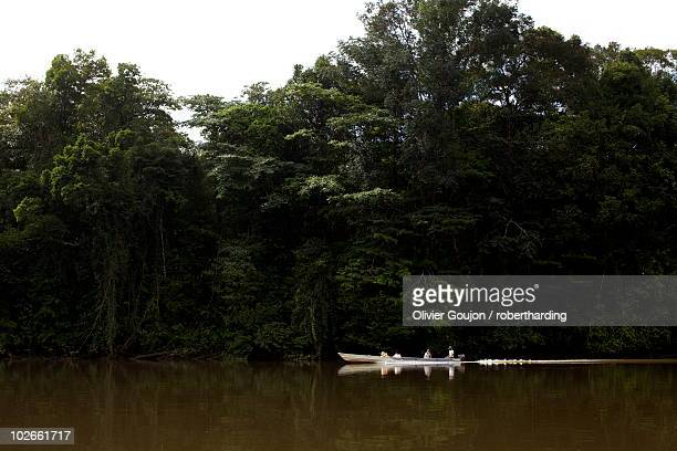 A pirogue on the Approuague River, French Guiana, South America
