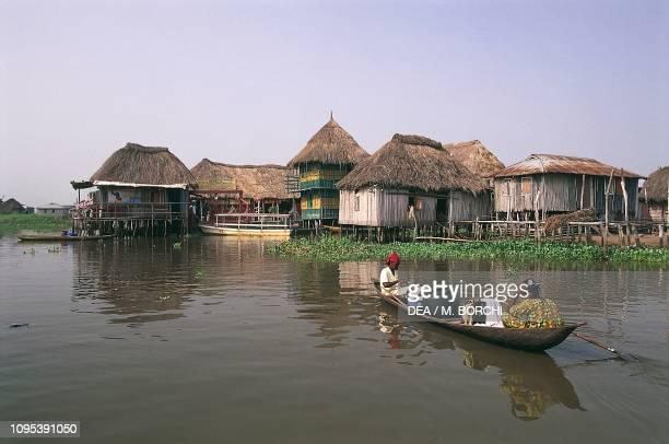 Pirogues and stilt houses on Lake Nokoue Ganvie Benin