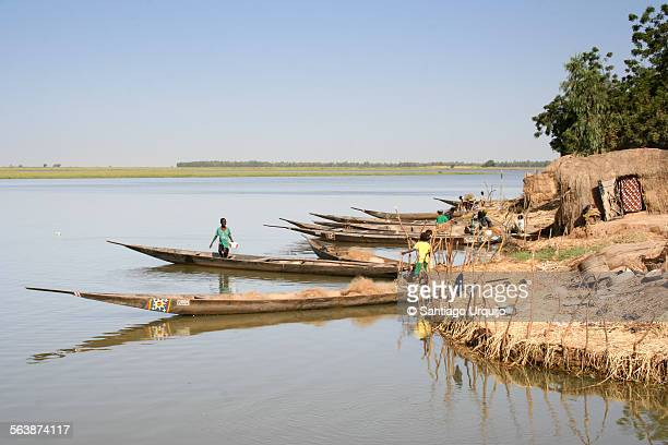 Pirogues on an island in the Niger River