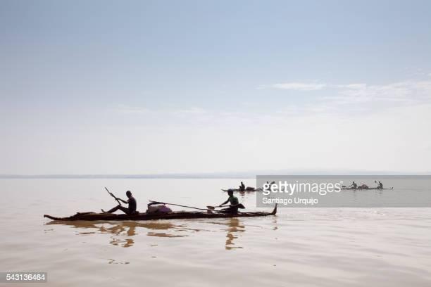 Pirogues traversing Lake Tana