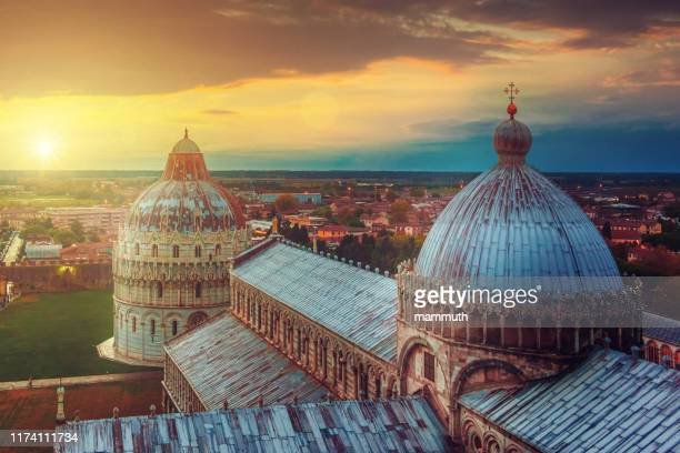 pisa cathedral at sunset - pisa stock pictures, royalty-free photos & images