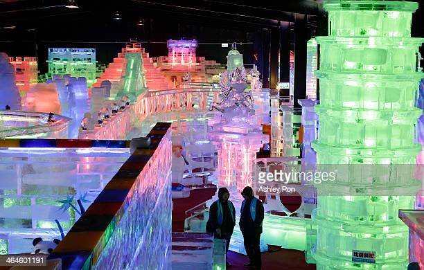 """Pisa Tower ice sculpture displayed at """"Fantasy Ice World"""" on January 23, 2014 in Taipei, Taiwan. Ice sculptors from the famous Harbin Ice Festival..."""