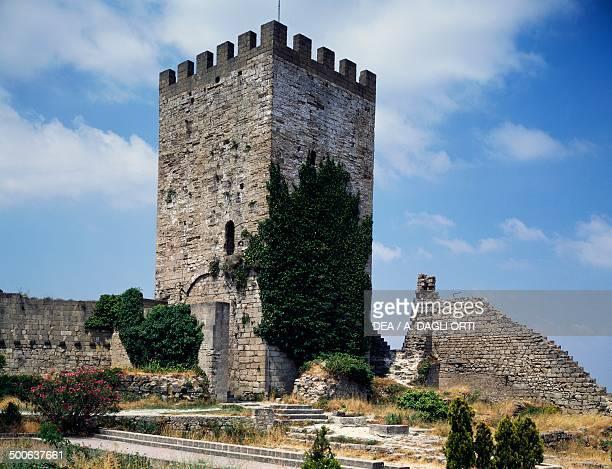 Pisana tower, 13th century, Lombardy Castle, Enna, Sicily, Italy.