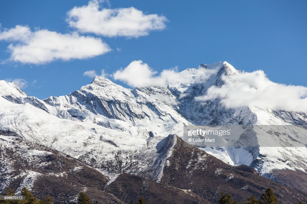 Pisang peak in the Himalayas in Nepal : Stock Photo