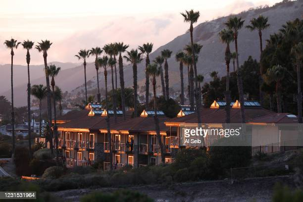 Pismo Beach at sunset in the southern portion of San Luis Obispo County on the California Central Coast as San Luis Obispo county moved into the red...