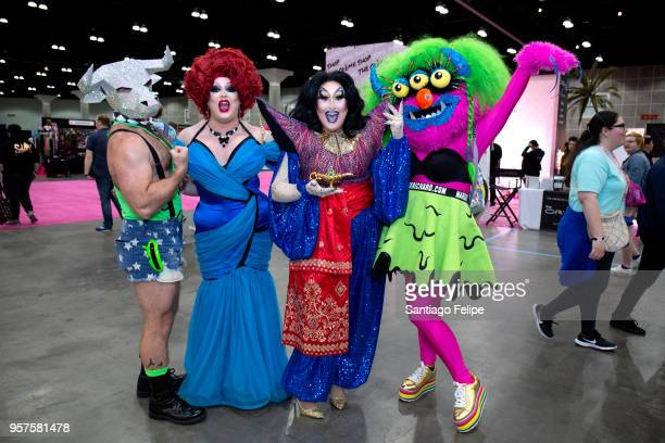 Pissi Myles Sherry Pie and Marek Richard team at the 4th Annual RuPaul's DragCon at Los Angeles Convention Center on May 11 2018 in Los Angeles...