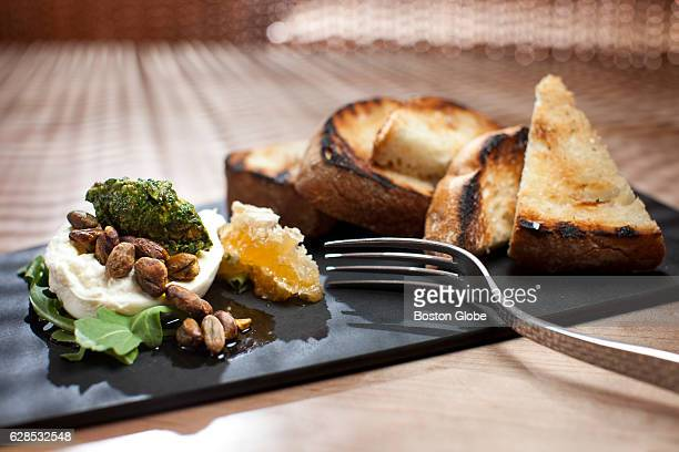 Pistachio burrata is pictured at the Pantry Restaurant in the Natick VerveCrown Plaza Hotel in Natick MA on Jul 7 2015