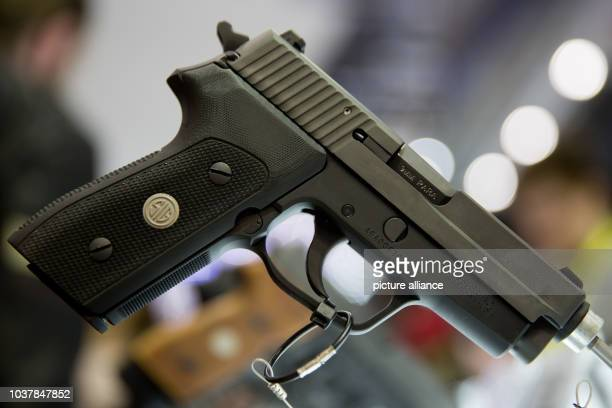 A1 pistol from arms manufacturer SIG Sauer GmbH Co KG at the IWA OutdoorClassics hunting and sporting weapons fair in Nuremberg Germany 05 March 2016...