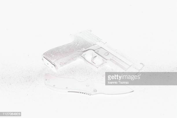 pistol - gun - knife - pencil drawing stock pictures, royalty-free photos & images