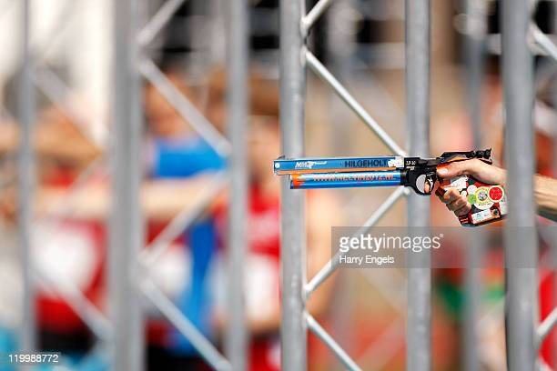 A pistol is seen on the range during the Combined Event during the men's semi final round at the modern pentathlon European Championships at Medway...