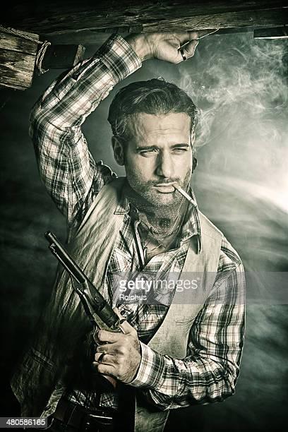 Pistolero Italian Cowboy with Cigarette and Gun Smoke