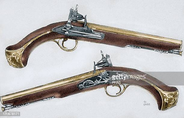 Pistols 18th century Colored engraving