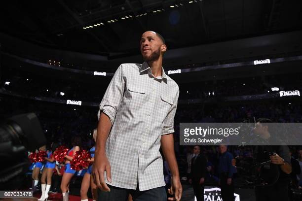 Piston Great Tayshaun Prince is seen during the game between the Washington Wizards and the Detroit Pistonson April 10 2017 at The Palace of Auburn...