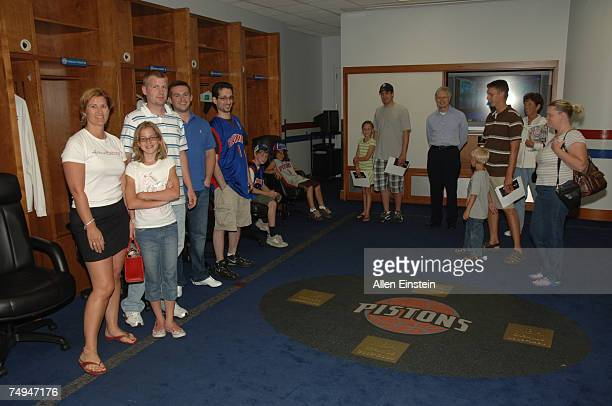 Pistons fans tour the locker room during the Detroit Pistons Draft Night Party celebrating the 2007 NBA Draft at the Palace of Auburn Hills June 28,...