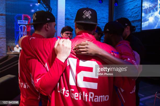 Pistons Gaming Team huddles before the game against 76ers Gaming Club on August 4 2018 at the NBA 2K Studio in Long Island City New York NOTE TO USER...