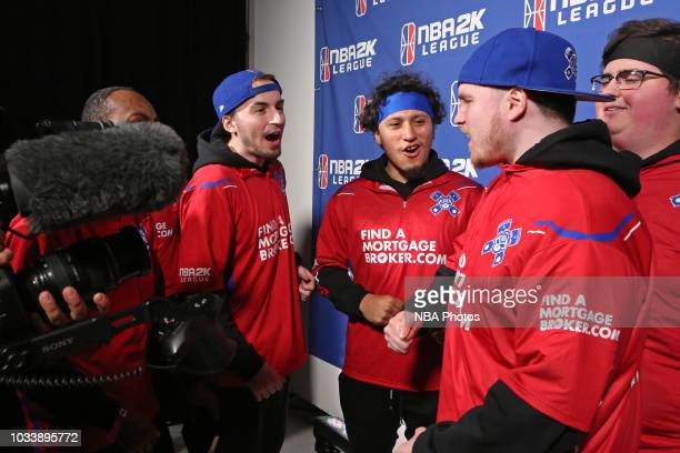 Pistons Gaming Team players after the game against Heat Check Gaming on May 12 2018 at the NBA 2K League Studio Powered by Intel in Long Island City...