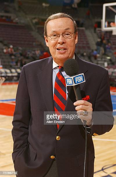 Pistons playbyplay announcer George Blaha works the FSN telecast for the Detroit Pistons and Utah Jazz preseason game at the Palace of Auburn Hills...