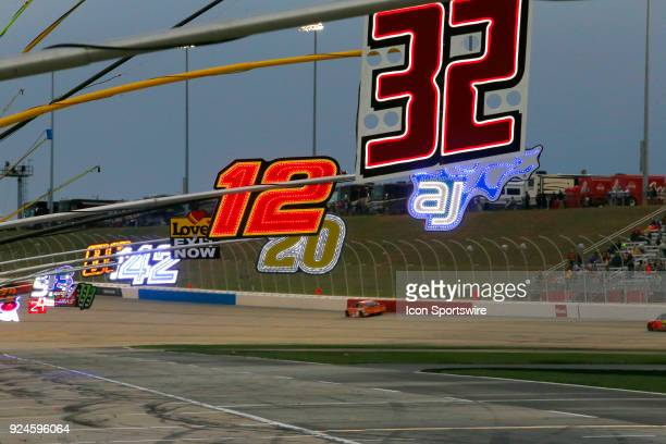 Pit boards light up the pit stalls during the 59th running of the Monster Energy NASCAR Cup Series Folds of Honor QuikTrip 500 on February 25 at the...