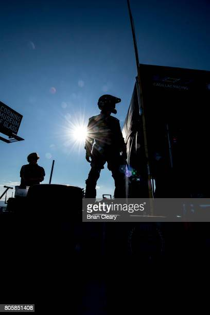 A pit crew man stands on the pit wall before the Sahlen's Six Hours of the Glen IMSA WeatherTech Series race at Watkins Glen International on July 2...
