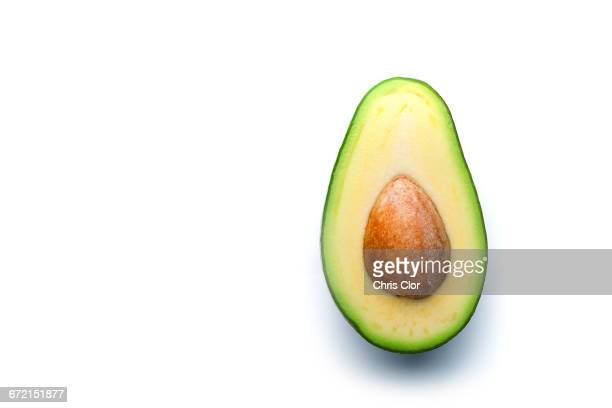 Pit in sliced avocado