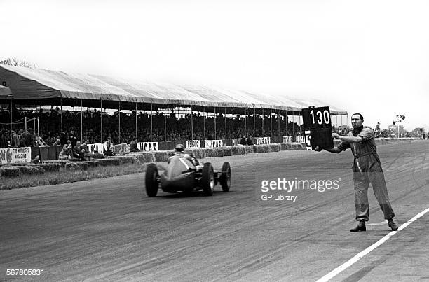 Pit signal goes out to Nino Farina in a works Alfa Romeo Alfetta at the British Grand Prix Silverstone England 14th July 1951
