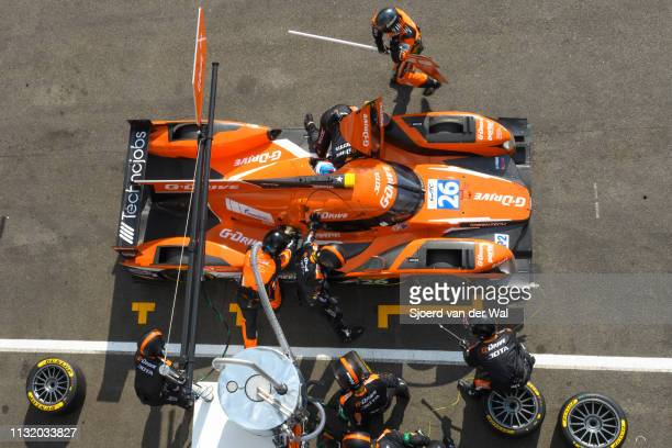 Pit stop for the GDrive Racing Oreca 05 Nissan LMP2 race car driven by R RUSINOV / N BERTHON / R RAST with mechanics refuelling the car and ready to...