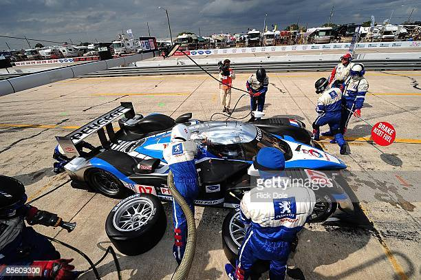 Pit stop for the Peugeot 908 of Pedro Lamy Christian Klien and Nic Minasssian during the 57th Annual Mobil1 12 Hours of Sebring at Sebring...