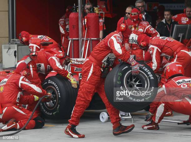 Pit stop of Ferrari team is seen during qualifying for the Bahrain Formula One Grand Prix at the Bahrain International Circuit on March 11 in Sakhir...