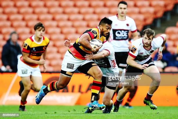 Pita Ahki of Waikato charges forward during the round eight Mitre 10 Cup match between Waikato and North Harbour at FMG Stadium on October 8 2017 in...