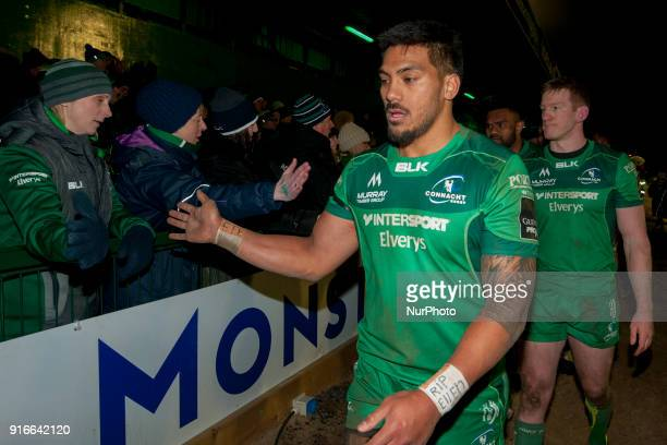 Pita Akhi of Connacht thanks his fans during the Guinness PRO14 rugby match between Connacht Rugby and Ospreys at the Sportsground in Galway Ireland...