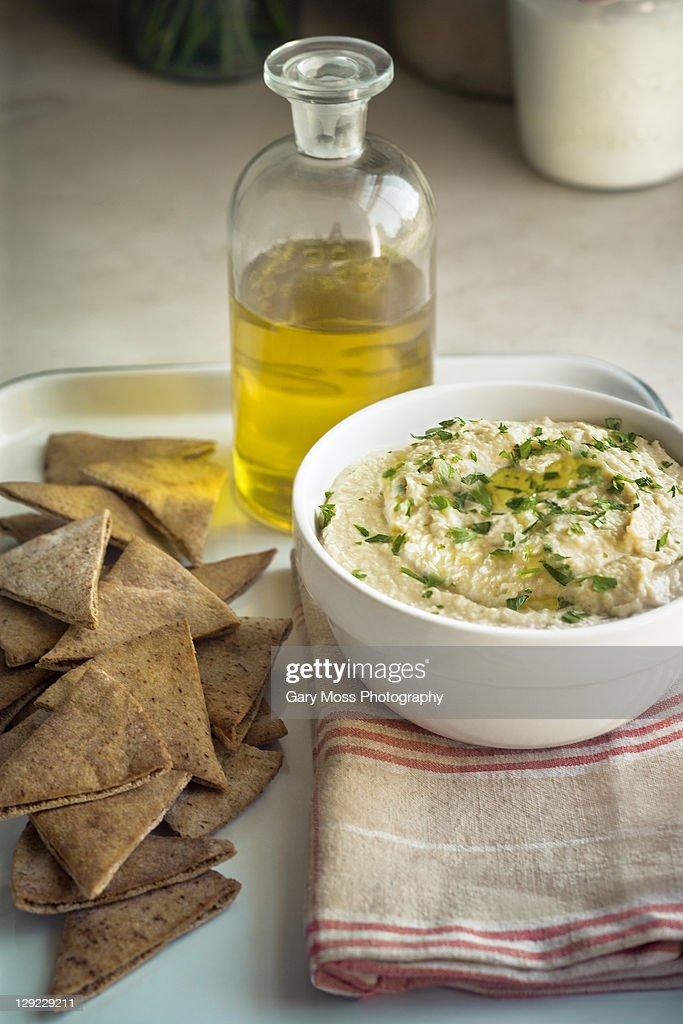 Pita and Butter Bean Hummus : Stock Photo
