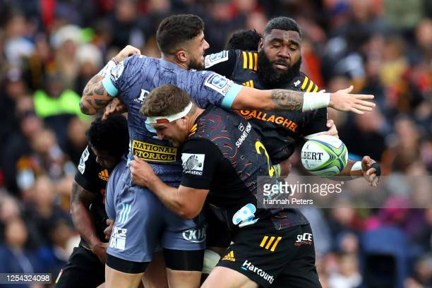 Pita Gus Sowakula of the Chiefs charges forward during the round 4 Super Rugby Aotearoa match between the Chiefs and the Hurricanes at FMG Stadium on...
