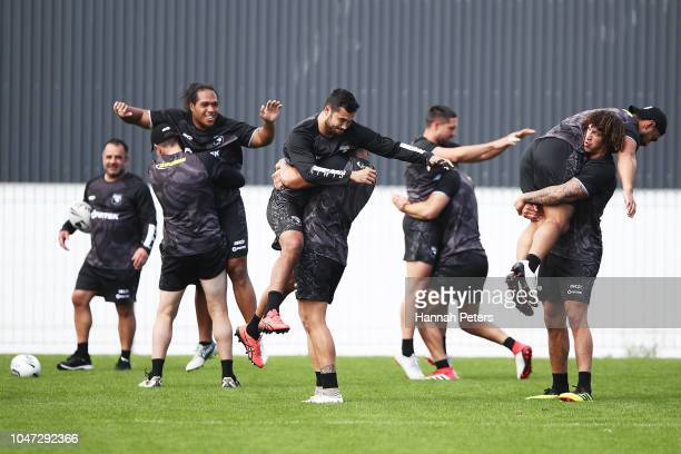 Pita Hiku runs through drills during a New Zealand Kiwis training session at Mt Smart Stadium on October 8 2018 in Auckland New Zealand