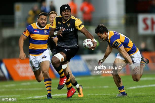 Pita Sowakula of Taranaki makes a break during the round five Mitre 10 Cup match between Taranaki and Bay of Plenty at Yarrow Stadium on September 15...