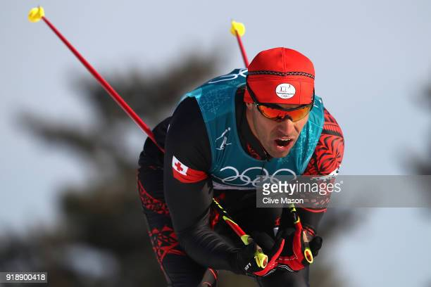 Pita Taufatofua of Tonga competes during the CrossCountry Skiing Men's 15km Free at Alpensia CrossCountry Centre on February 16 2018 in...