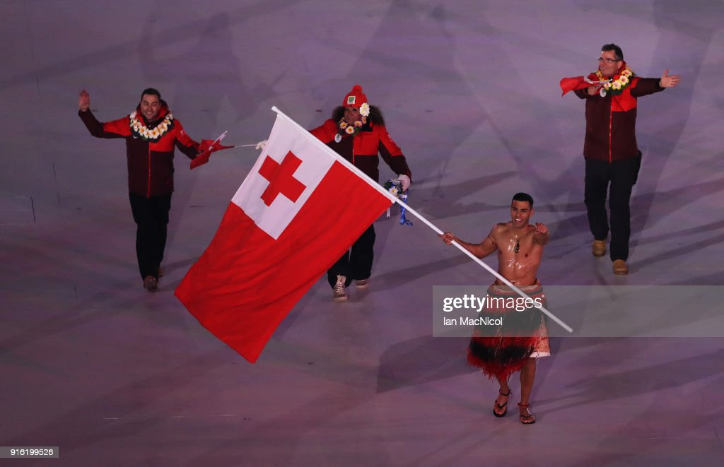 Pita Taufatofua of Tonga is seen during the Opening Ceremony of the PyeongChang 2018 Winter Olympic Games at PyeongChang Olympic Stadium on February 9, 2018 in Pyeongchang-gun, South Korea.