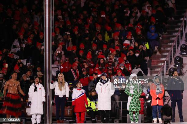 Pita Taufatofua of Tonga Liu Jiayu of China Lindsey Vonn of the United States Kim Ju Sik of North Korea Yun Sungbin of South Korea Nao Kodaira of...