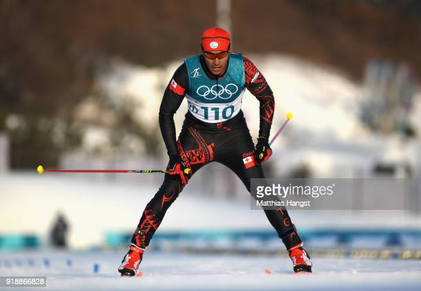 Pita Taufatofua of Tonga reacts crosses the finish line during the CrossCountry Skiing Men's 15km Free at Alpensia CrossCountry Centre on February 16...
