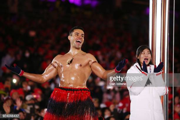 Pita Taufatofua of Tonga stands on stage during the Closing Ceremony of the PyeongChang 2018 Winter Olympic Games at PyeongChang Olympic Stadium on...