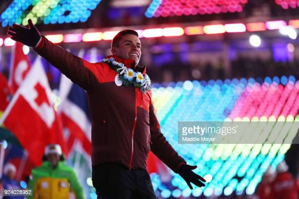 Pita Taufatofua of Tonga walks in the Parade of Athletes during the Closing Ceremony of the PyeongChang 2018 Winter Olympic Games at PyeongChang...
